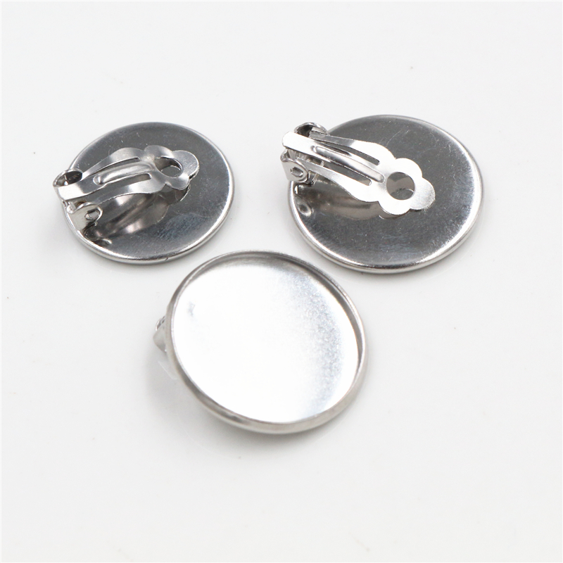 20mm 10pcs/lot Stainless Steel Material Ear Clips ,Stainless Steel Earring Base Cameo Bezels Tray For Jewelry Supplies-X5-23