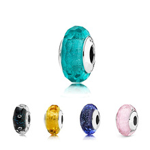 Murano Beads Jewelry Charms Glass Silver-Plated DIY Blue Green Women Fit-Bracelets Round