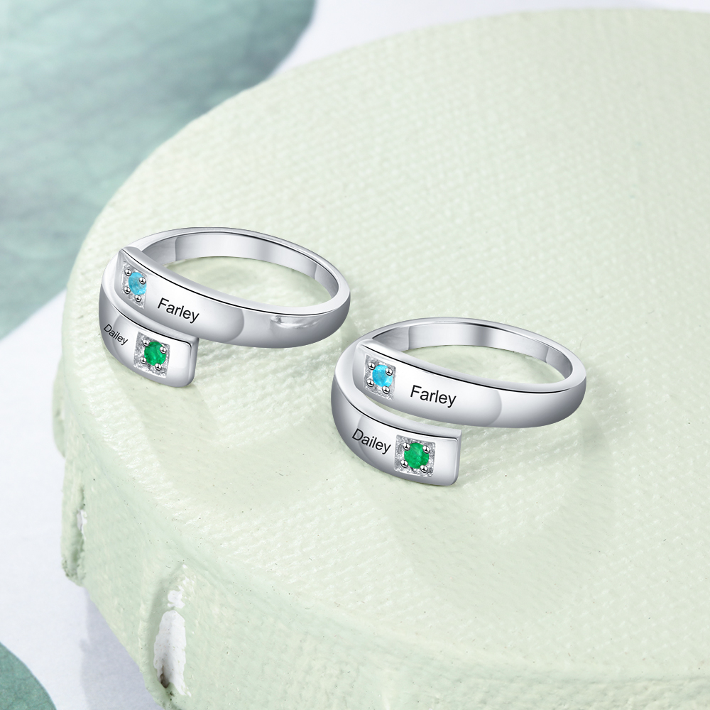 Personalized Mothers Rings with 2 Birthstone Engraved Name Rings For Women Customized Promise Ring Anniversary Jewelry Gift