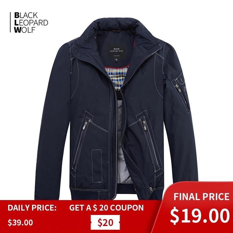 Blackleopardwolf 2019 nova chegada primavera casaco masculino de alta qualidade causal parkas estilo curto para baixo jaqueta fina algodão MC-17065