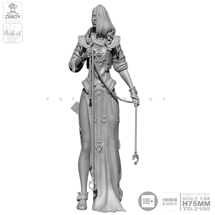 1/24 Resin Figure Kits Rope Woman Resin Soldier Self-assembled 75MM TD-2100