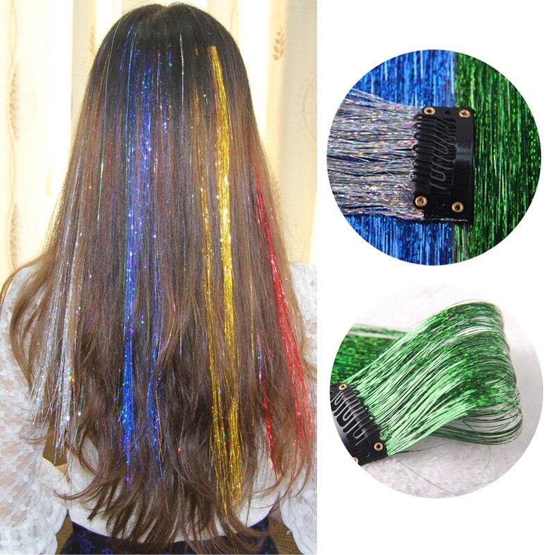 Mode Sparkle Haar Lametta Mit Clip Bling Haar Secoration Für Synthetische Haar Verlängerung Glitter Regenbogen Für Mädchen Und Party