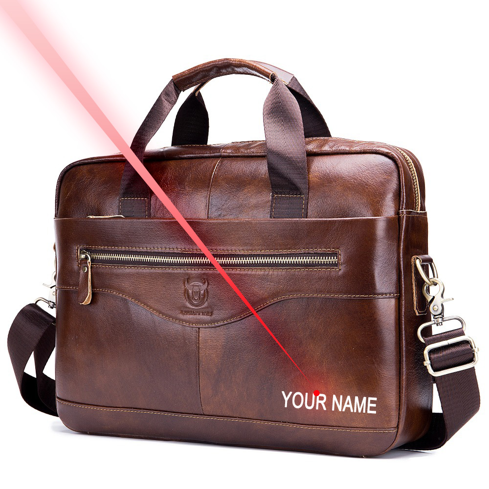 Free Engraving Your Name Cowhide Male Commercial Briefcase /Real Leather Vintage Men's Messenger Bag/Casual Business Bag