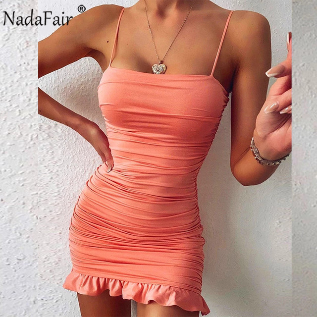 Nadafair Ruffles Sexy Dress Women Summer Party Clubwear 2021 Spaghetti Strap Ruched Bandage Mini Short Bodycon Women's Dress 2