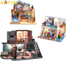 Children DIY Doll House With Furnitures Kits Wooden Miniatures Doll Houses Dollhouse With LED Baby Assemble Toys Christmas Gifts