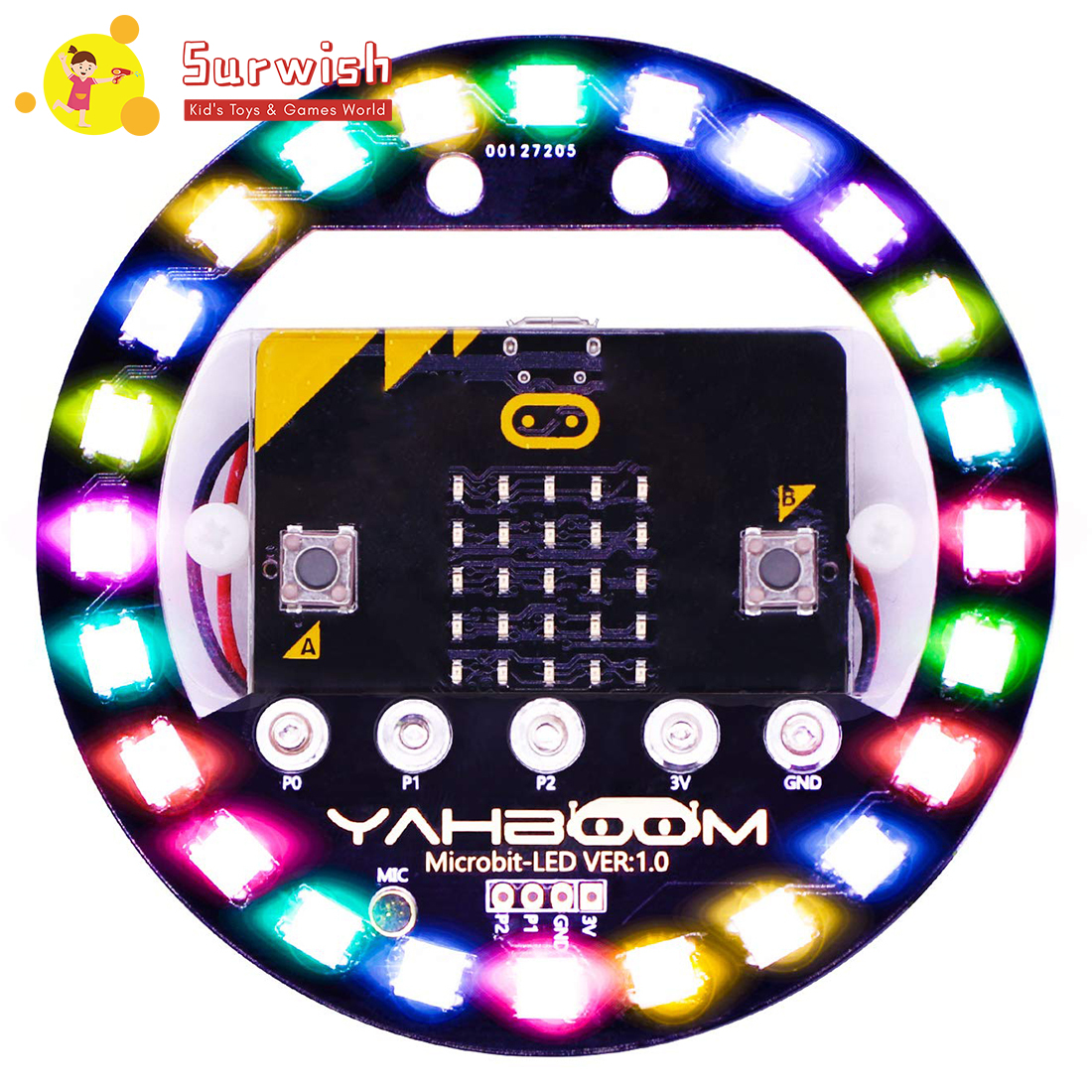 2 Type Micro:Bit Halo Programmable Expansion Board Compatible With Arduino Voice Control Colorful LED RGB Lights