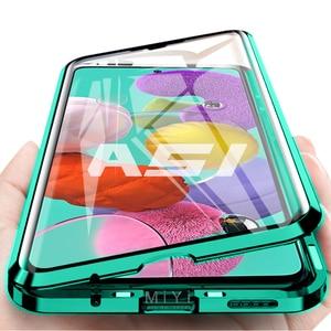 Image 1 - Funda magnética de doble cara con tapa de protección completa de 360 °, cubierta trasera de vidrio templado para Samsung Galaxy A 51 71, A51, A71
