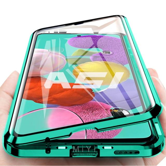 Funda magnética de doble cara con tapa de protección completa de 360 °, cubierta trasera de vidrio templado para Samsung Galaxy A 51 71, A51, A71