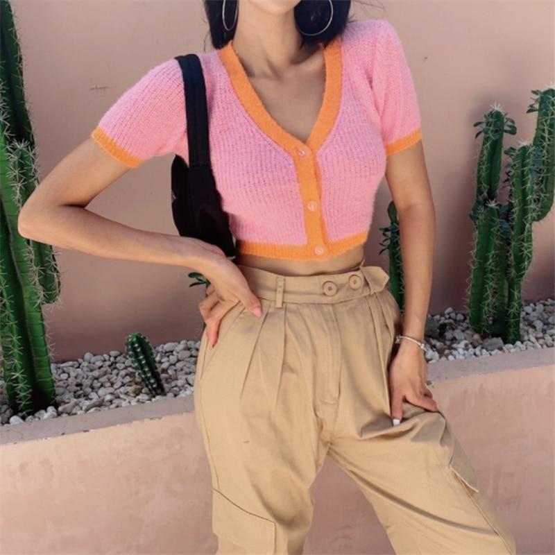 Cropped Cardigan Knitted V Neck Sweater Women Kawaii Cardigan Crop Top Ladies Streetwear Korean Button Up Crop Cardigan Top 2020 1