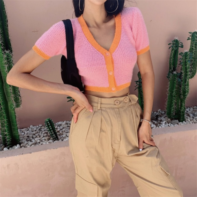 Cropped Cardigan Knitted V Neck Sweater Women Kawaii Cardigan Crop Top Ladies Streetwear Korean Button Up Crop Cardigan Top 2020