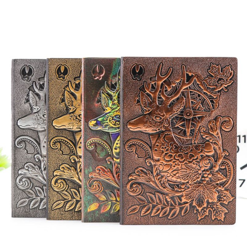 Creative Deer Embossed A5 Leather Notebook Journal Notepad Travel Diary Planner Book School Office Supplies