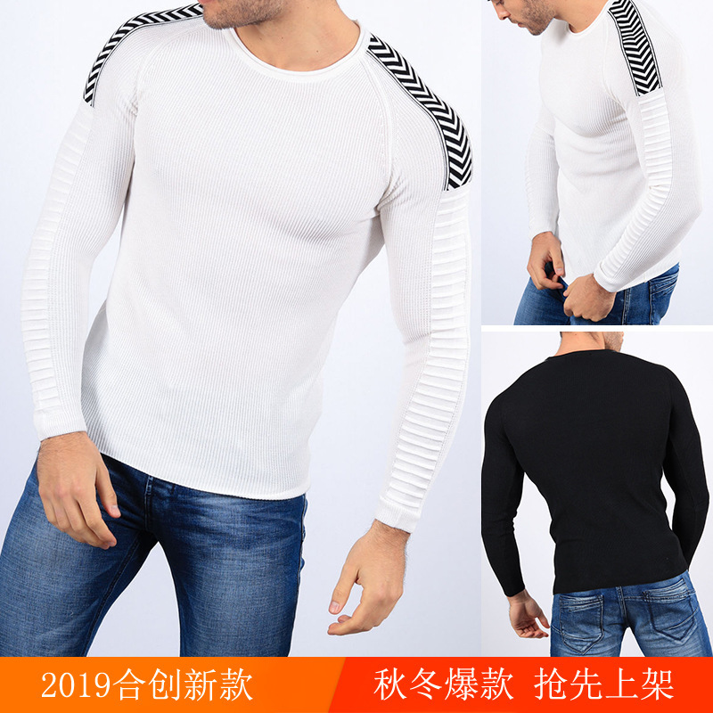 2019 Men's Wear Round Neck Volume Edge Sweater Knitting Shirt Sweater#5