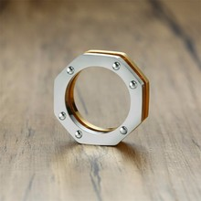 8 SIDED WEDDING BAND MEN RING TWO TONE OCTAGON NUT BRUSHED MODERN MENS BAND
