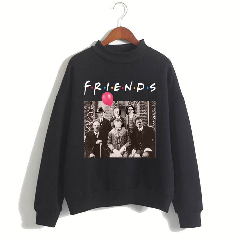 Women Horror Friends Pennywise Michael Myers Jason Voorhees Halloween Hoodie Female Winter Fleece Sweatshirt Christmas Gift