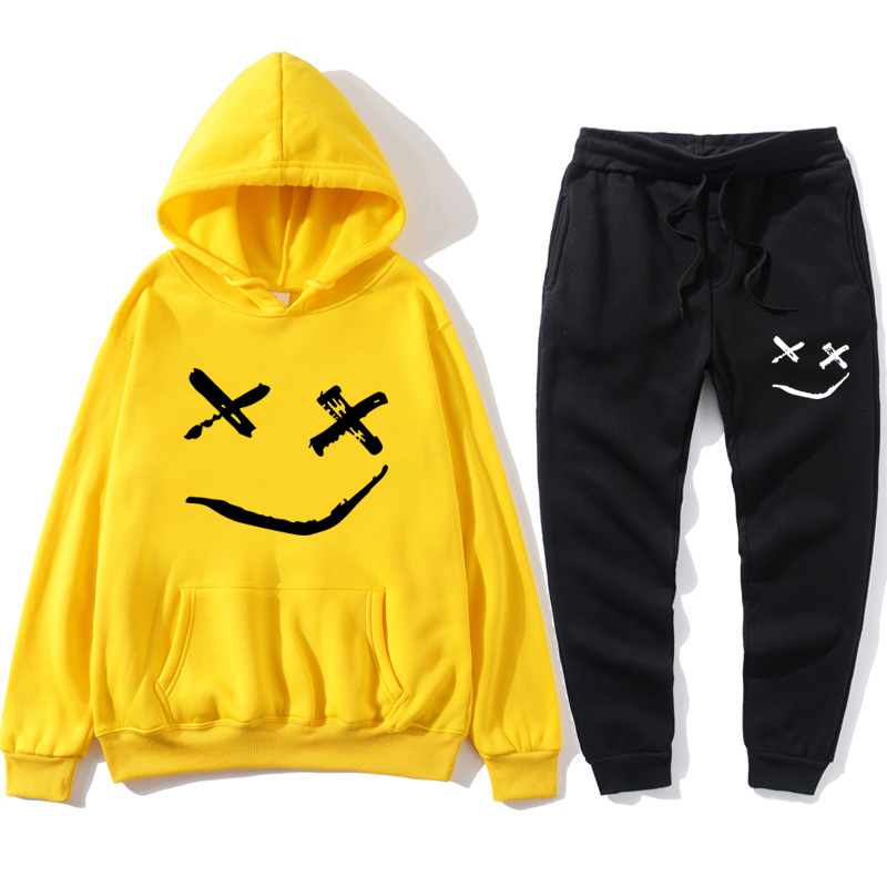 Smiley Pattern Printed Hoodie Brand Cotton Tracksuit Suit 2020 New Men And Women Hip Hop Street Clothing Plus Size Sportswear