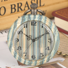 Special Green Bamboo Quartz Pocket Watch for Women Wooden Watches Excellent Open Face Pendant