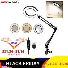 NEWACALOX 5X USB Kính Lúp Có Đèn LED Dẻo Bàn Kẹp Bàn Tay Thứ Ba Hàn/Đọc/Trang Sức Kính Lúp Để Bàn đèn
