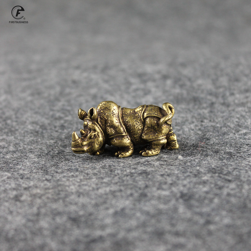 Handmade Pure Copper Cute Rhinoceros Miniatures Figurines Solid Vintage Brass Rhino Ornaments Tea Pets Desktop Decorations