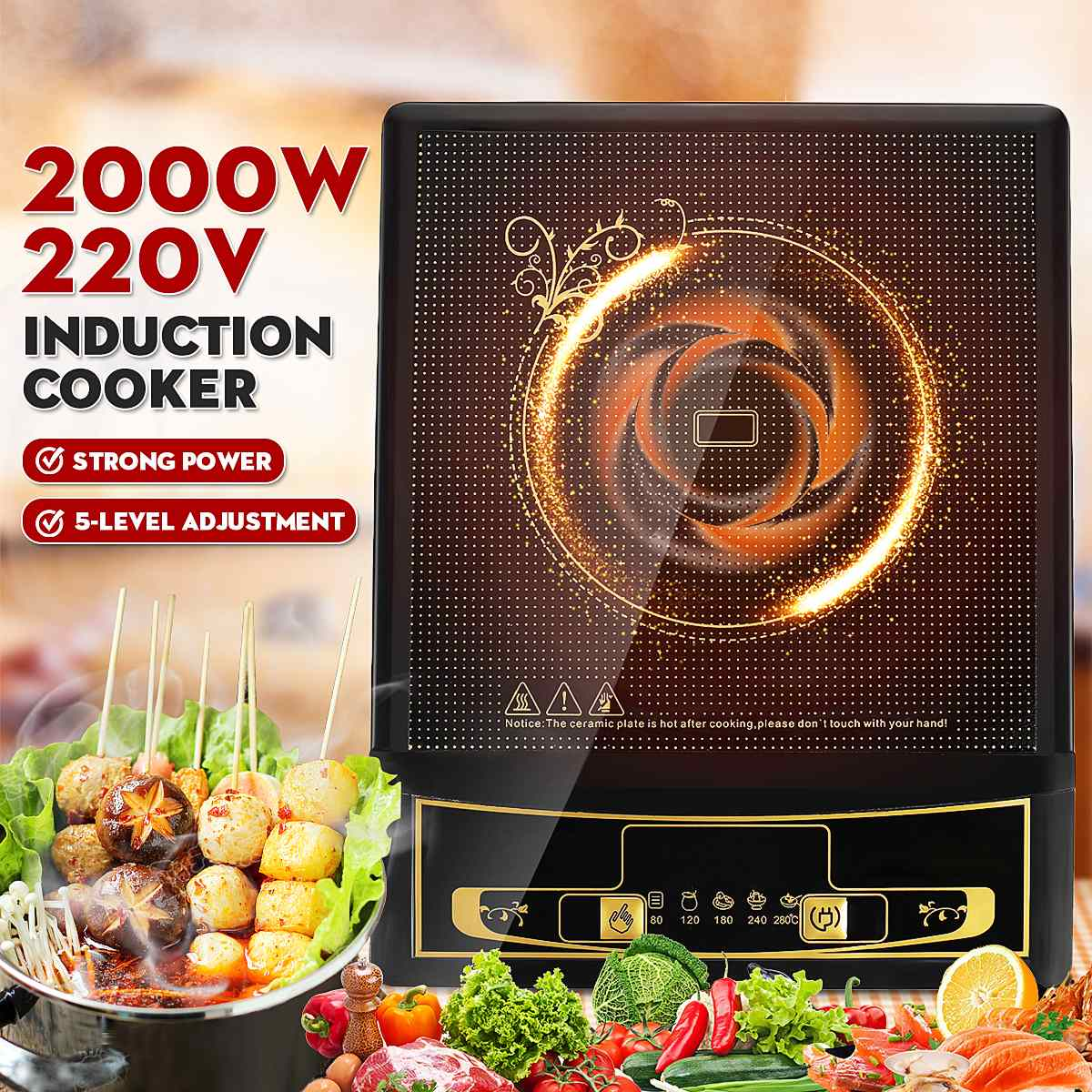 2200W 220V Portable Electric Button Control Induction Oven Cooker Cooking Tea Boiler Electromagnetic Adjustable 5 Mode