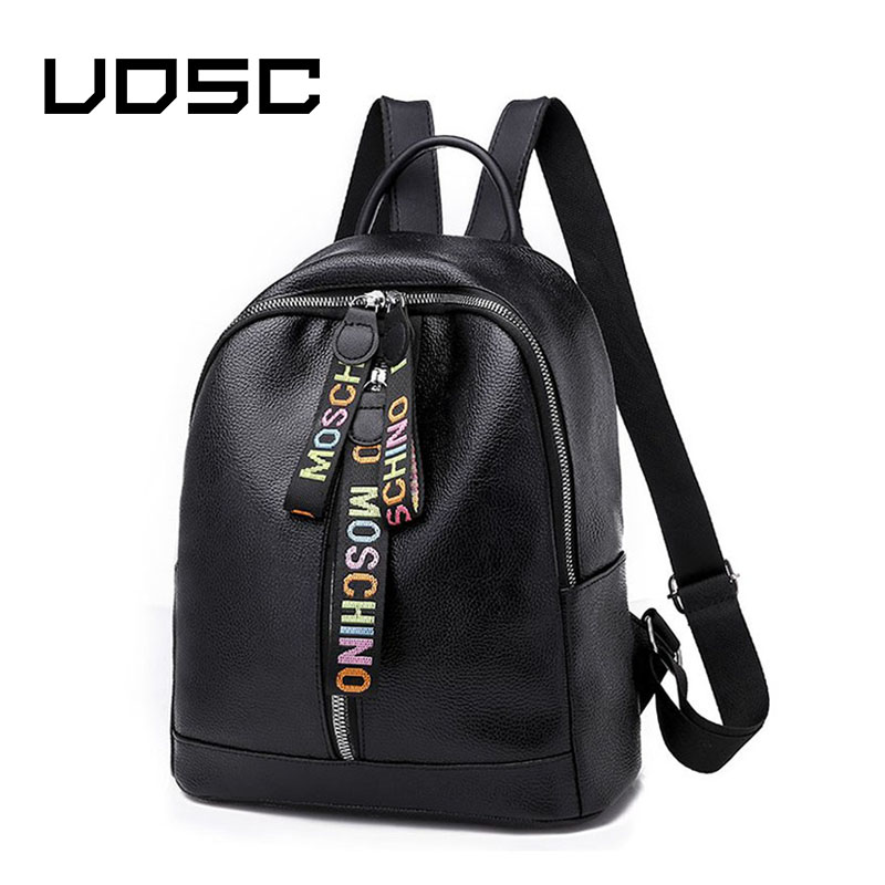 UOSC Double Zipper Backpack Women PU Leather School Bags For Teenage Girls Travel Bags Designer Female Backpack Soft  Backpack