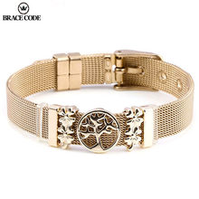 Le nouveau Bracelet en acier inoxydable bricolage arbre de vie également Ginkgo feuille breloque marque Bracelet bijoux cadeau livraison directe