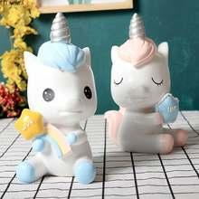 Arco-íris unicórnio piggy bank criativo impresso resina animais cavalo moeda caixas de poupança de dinheiro linda decoração presente para crianças