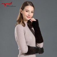 MH Bailment tAutumn and winter ladies warm mink fur knitted gloves Korean fur mink fur sleeve half finger arm sleeve