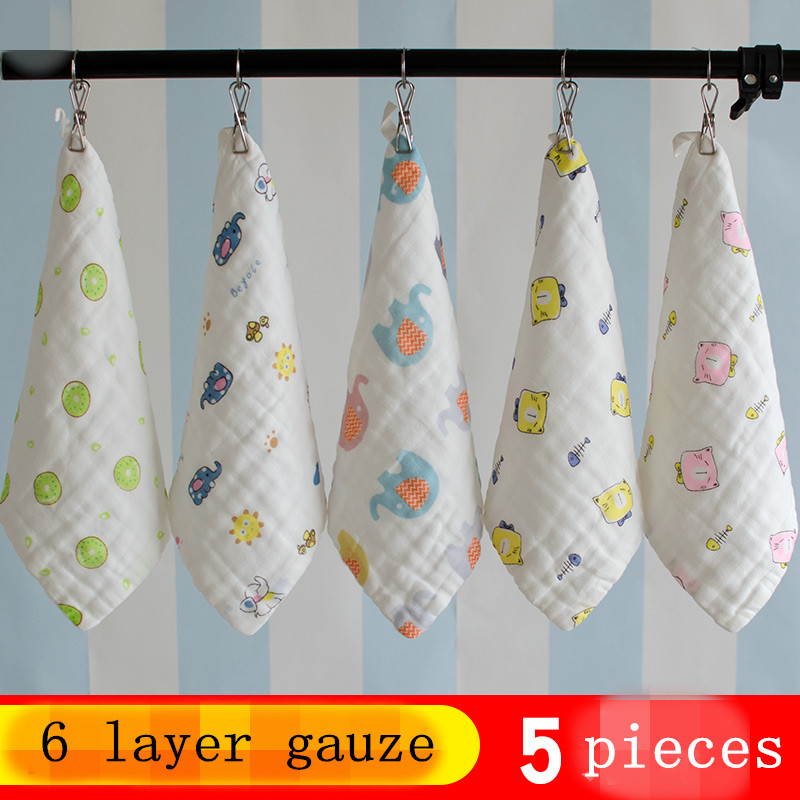 5 Pieces / Lot Children Baby Cartoon Towel Cotton Gauze Absorbent Printed Square Towels Drying Washcloth Handkerchief 25*25CM