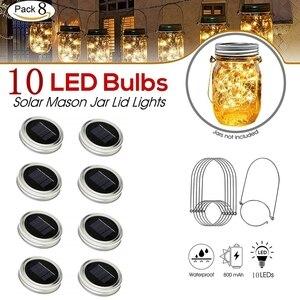 Image 2 - 8 Pack Solar Mason Jar Lights with 8 Handles,10 Led String Fairy Firefly Lights Lids Insert for Regular Mouth Jars Garden decor