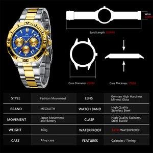 Image 4 - MEGALITH Men Sport Wristwatches Luxury Brand Gold Steel Strap Watches Men Waterproof Luminous Quartz Man Clock Reloj Hombre 2019