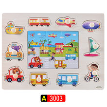 Kid Early Educational Toys Baby Cartoon Transportation Wooden Puzzle Toy Alphabet And Digit Learning Kids Wood Jigsaw Toys Gifts(China)