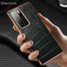 Croc desen inek deri kılıf için Huawei P40 Pro artı P40Pro P40Pro + kılıf lüks hakiki deri arka kapak