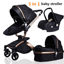 3 in 1 Baby Stroller Royal Luxury Leather Aluminum Frame High Landscape Folding