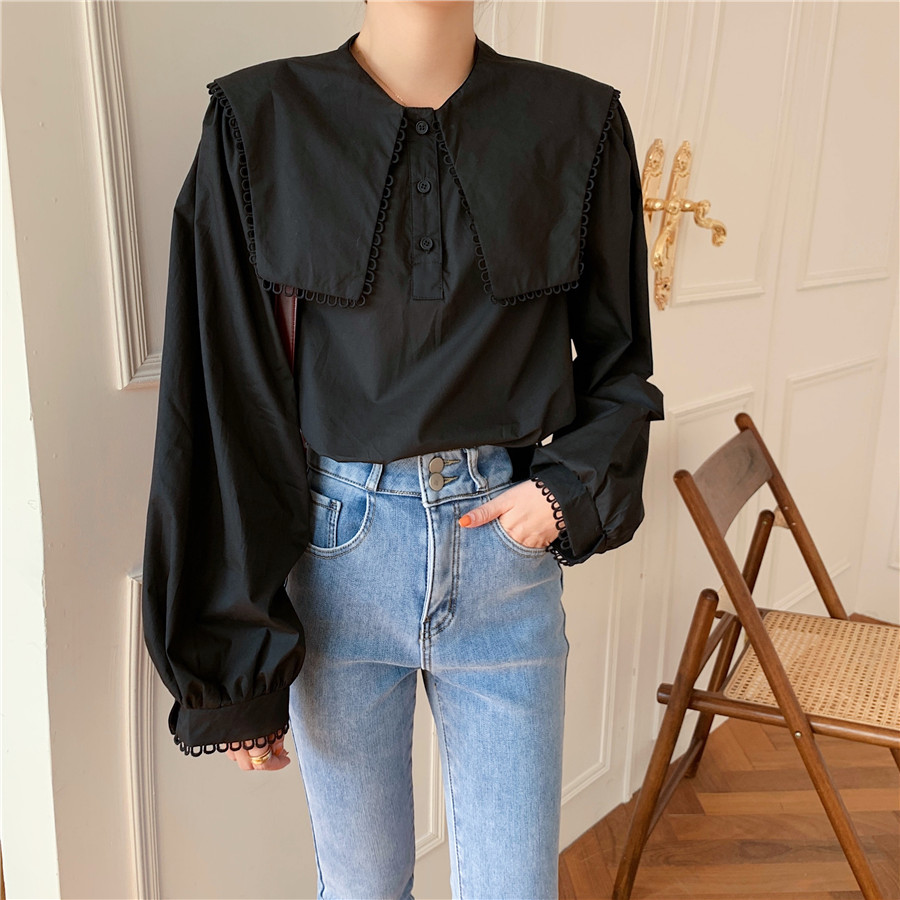 Hfe2f20fc3c8049d589ef2ae17b885d6e3 - Spring / Autumn Puritan collar Long Sleeves Solid Blouse