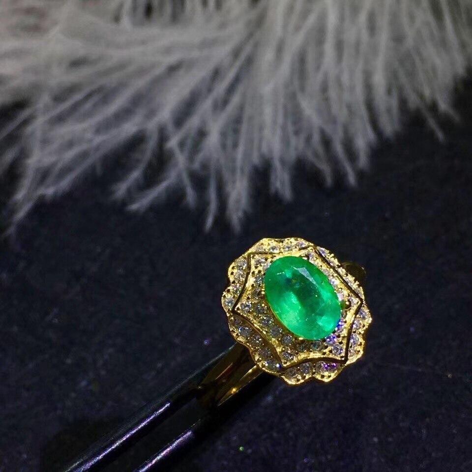 BOEYCJR S925 argent à la mode émeraude Fine bijoux réglable élégant pierres précieuses anneaux pour les femmes cadeau de fiançailles anillo anneau