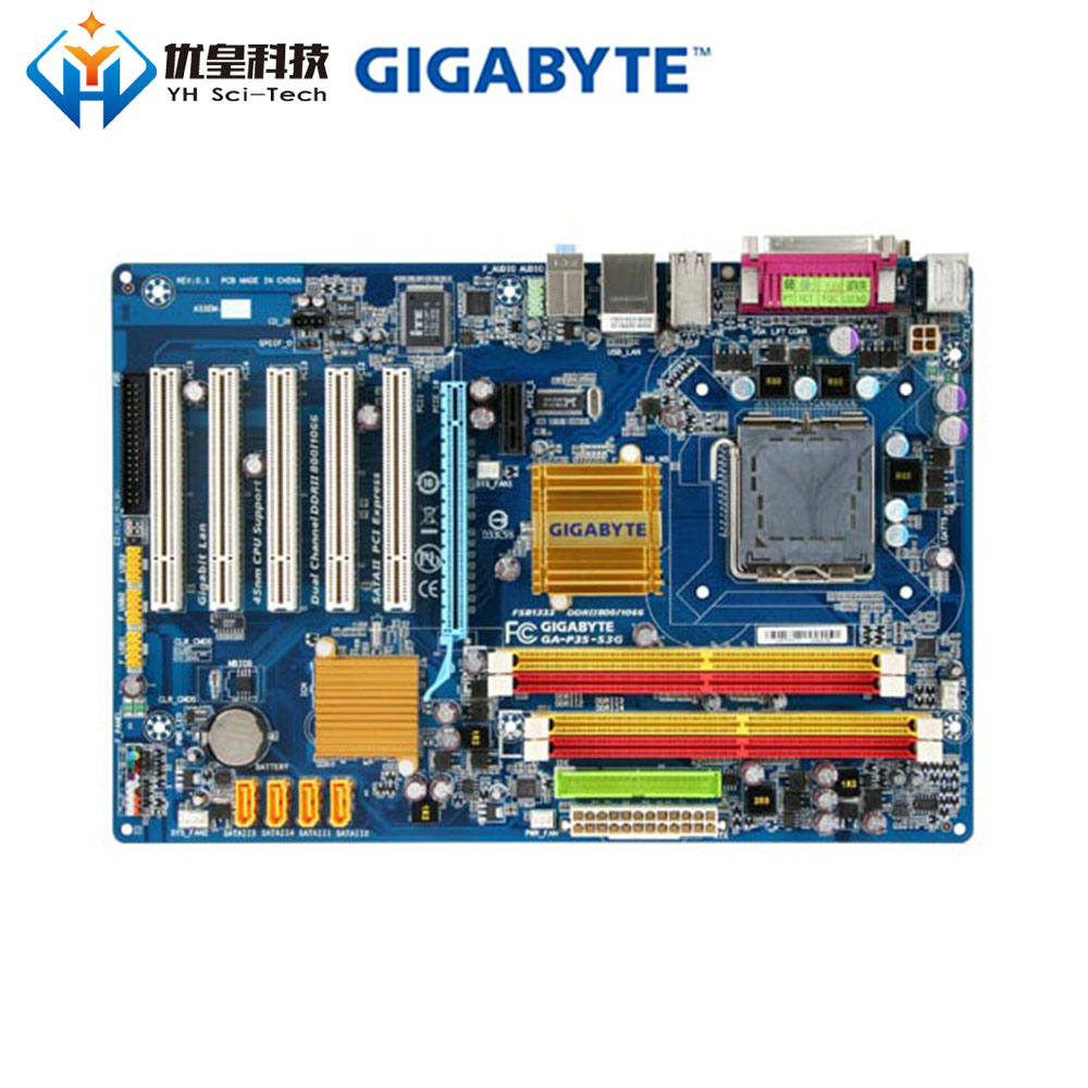 Original Used Desktop Motherboard Gigabyte GA-P35-S3G P35 LGA 775 Core 2 Extreme/Core 2 Quad/Core 2 Duo DDR2 ATX