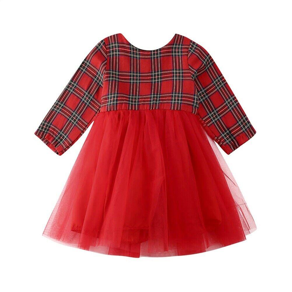 Christmas Toddler Kid Baby Girl Xmas Festival Flared Party Velvet Lace Dress