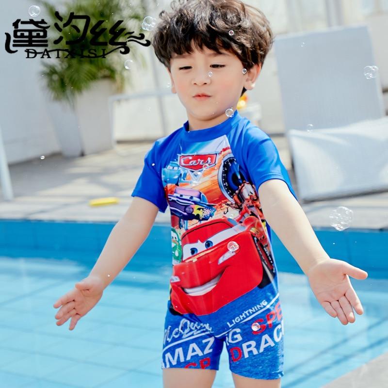 New Style Kid's Swimwear Boy's Fashion Cartoon Karting Pattern Children Boxers One-piece Swimwear