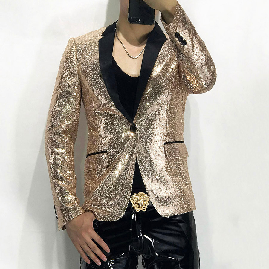 Mens Stylish Blazer Nightclub Piece Small Suit Show Serve Ktv Bar Uniform Host Blingbling Coat Tide Chaquetas Hombre De Vestir