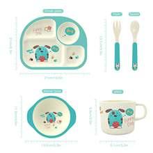 Набор детской столовой посуды из бамбука с тарелкой/чашкой/ложкой/вилкой