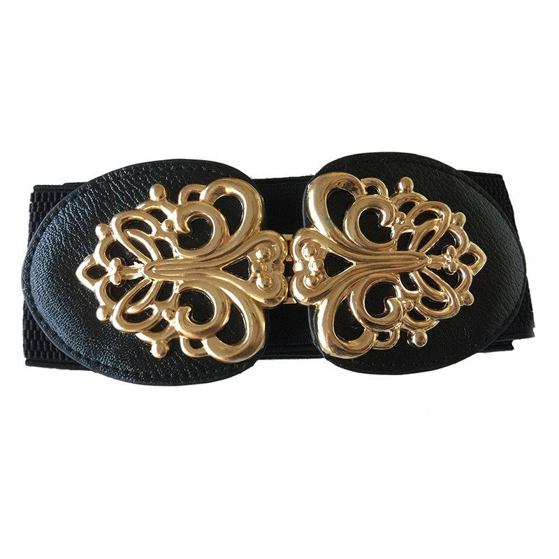 Women Metallic Retro Flower Elastic Stretchy Dress Narrow Waist Belt Band, Black