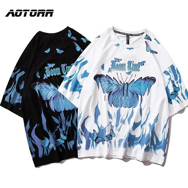 Футболка мужская оверсайз с коротким рукавом, хлопковая рубашка в стиле хип-хоп, уличная одежда с синими бабочками, в стиле Харадзюку, на лет...