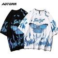 Herren Hip Hop T-shirts Blau Schmetterling Streetwear Männer Harajuku Sommer Kurzarm T-Shirt Baumwolle Tops Tees Männlichen Oversize Kleidung