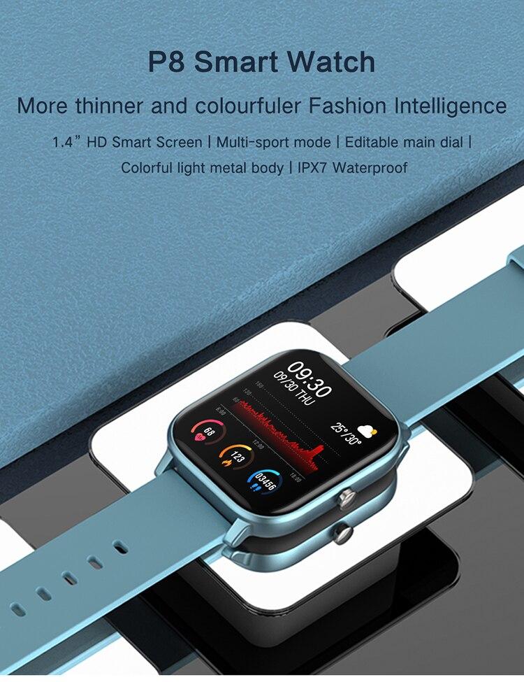 Hembeer p8 1.4 polegada relógio inteligente masculino