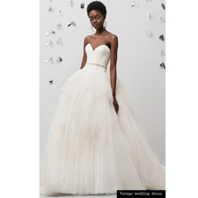 Verngo Ball Gown Wedding Dress Tiered Tulle Bride Backless Gowns Strapless Boho Vestidos De Novia