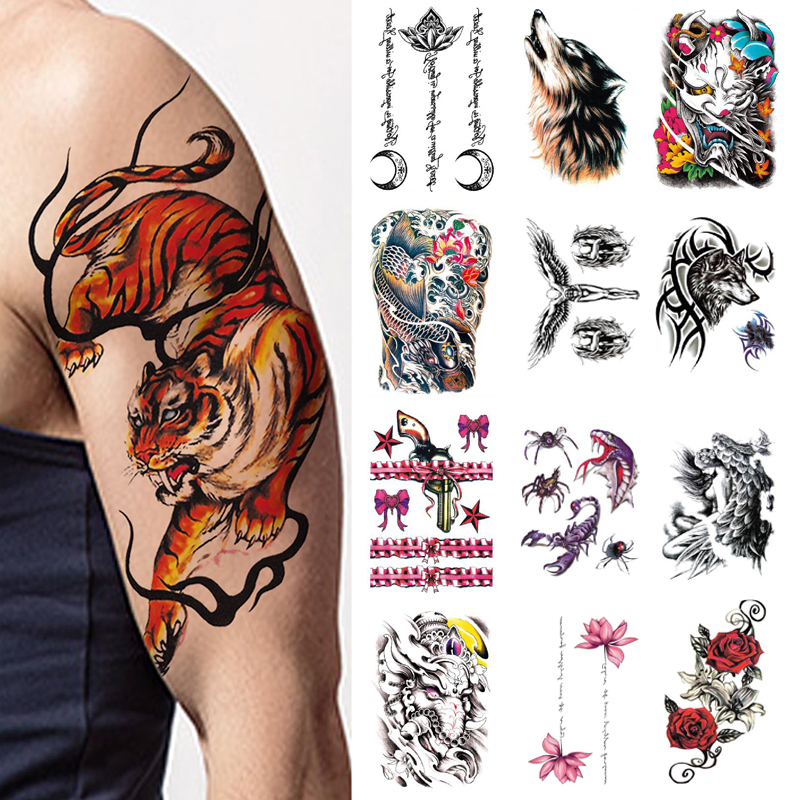 Tattoos for Men Stickers Women Temporary Waterproof Cool Things Fake Wolf Snake Hells Angels Translation on The Body Tatoo Sexy