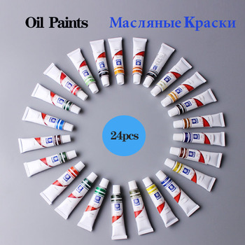 Professional Oil Paint Canvas Pigment Art Supplies Paints Each Tube Drawing 12 ML 24 Colors Set Free For Brush