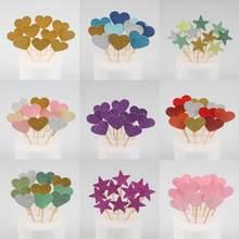 10 sztuk kolorowe ozdoba na wierzch tortu gwiazda serce wszystkiego najlepszego z okazji urodzin na przyjęcie do tortu Decora dostaw dekoracja Baby Shower Wedding Party