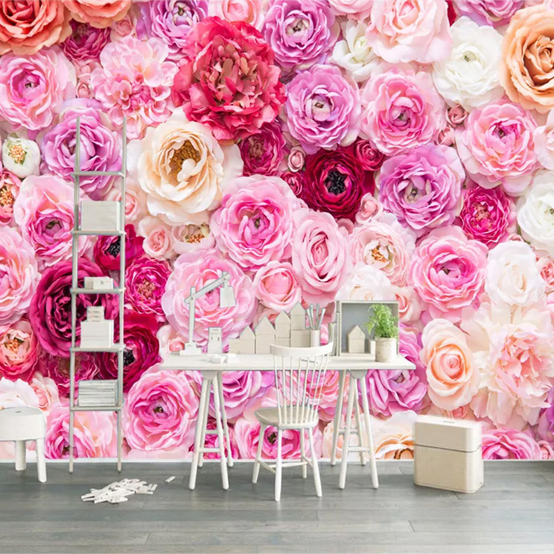 Custom Any Size Mural Wallpaper 3D Rose Flowers Wall Painting Living Room Wedding House Home Decor Wall Papers Papel De Parede