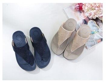 Rhinestone Women Slippers Flip Flops Summer Women Crystal Diamond Bling Beach Slides Sandals Casual Shoes Platform Woman Shoes 2